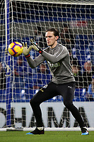 Newcastle United goalkeeper, Freddy Woodman in the pre-match warm up during Chelsea vs Newcastle United, Premier League Football at Stamford Bridge on 12th January 2019