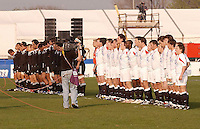 New Zealand and England stand for their anthems before the Division A U19 World Chanpionship match at Ravenhill, Belfast.