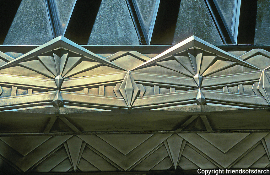 New York: Western Union Building. Detail of Art Deco over one entrance. Photo '91.