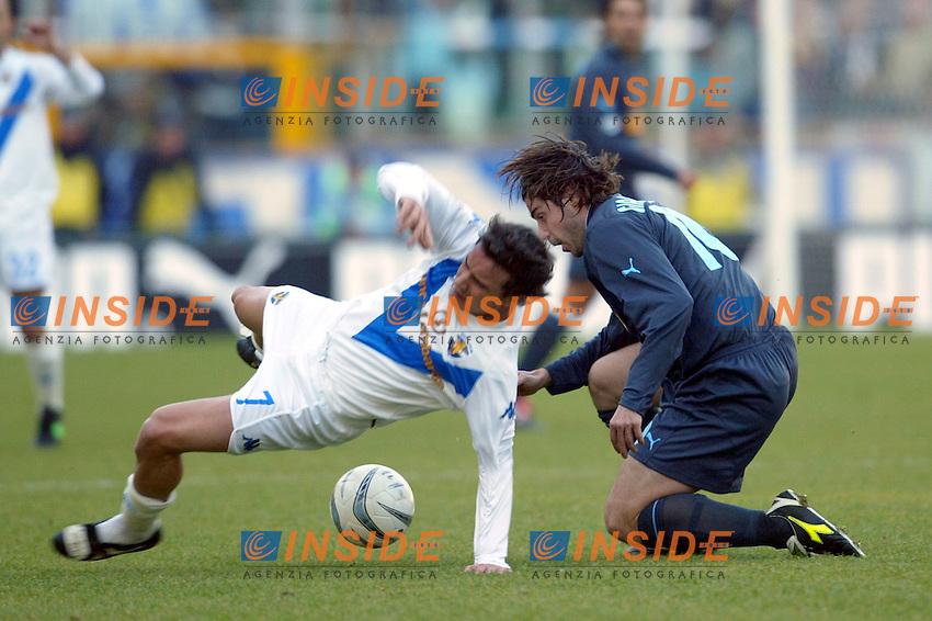 Roma 11/1/2004 <br /> Lazio Brescia 0-1 <br /> Matteo Brighi (Brescia) challenged by Giuliano Giannichedda (Lazio)<br /> Photo Andrea Staccioli Insidefoto