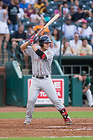 Nick Longhi (21) of the Greenville Drive at bat against the Greensboro Grasshoppers at NewBridge Bank Park on August 17, 2015 in Greensboro, North Carolina.  The Drive defeated the Grasshoppers 5-4 in 13 innings.  (Brian Westerholt/Four Seam Images)