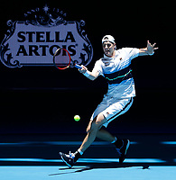 3rd January 2020; RAC Arena, Perth, Western Australia; ATP Cup Australia, Perth, Day 1,; USA v Norway John Isner of the USA plays a forehand shot from the baseline against Casper Ruud of Norway - Editorial Use