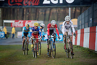 World Champion Wout Van Aert (BEL/Vastgoedservice-Golden Palace) leading the chase behind race leader Laurens Sweeck <br /> <br /> Zolder CX UCI World Cup 2014