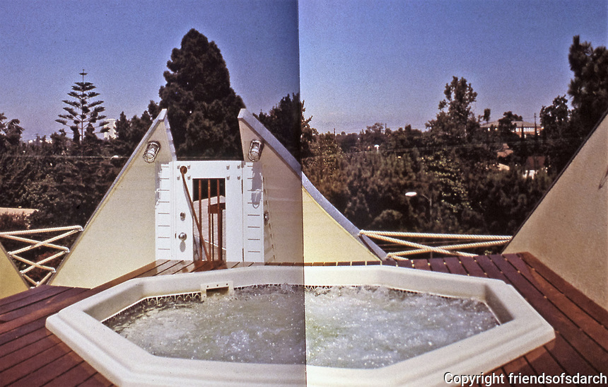 Eric Owen Moss--Petal House. Detail of roof and spa. Deconstructivist design, 1982. Photo April 2000.