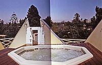 Eric Owen Moss--Petal House. Detail of roof and spa. Deconstructivist design, 1982. Photo April 2000.