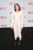 "9 August 2018-  Westwood, California - Emily Skeggs. Premiere Of STX Films' ""Mile 22"" held at The Regency Village Theatre. Photo Credit: Faye Sadou/AdMedia"
