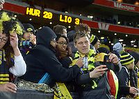 Jason Woodward mingles with fans after during the Super Rugby final match between the Hurricanes and Lions at Westpac Stadium, Wellington, New Zealand on Saturday, 6 August 2016. Photo: Dave Lintott / lintottphoto.co.nz