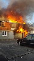 Pictured: Fire crews at the scene of a fire at Celtic Business Centre in Swansea, Wales, UK. Wednesday 24 October 2018<br /> Re: Firefighters have put out a fire in Swansea, Wales, UK.<br /> The fire is in a back lane running parallel between Carlton Terrace and Mansel Street in the Mount Pleasant area.<br /> South Wales Fire and Rescue Service have confirmed that they are in attendance at the scene.