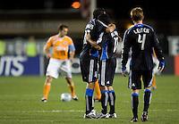 28 March 2009: Ramiro Corrales of Earthquakes gives a hug to Arturo Alvarez after Alvarez scored a goal during the first half of the game against the Dynamo at Buck Shaw Stadium in Santa Clara, California.  San Jose Earthquakes defeated Houston Dynamo, 3-2.
