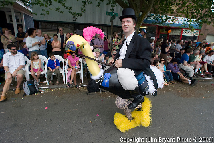 Robert Falk dressed as a rider on an ostrich in the 21st annual Summer Solstice Parade held Saturday, June 20, 2009 in Seattle, Wa. The parade was held Saturday, bringing out painted and naked bicyclists, bands, belly dancers and floats. (Jim Bryant Photo © 2009)