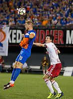 Cincinnati, OH - Tuesday August 15, 2017: Kevin Schindler, Sacha Kljestanr during a 2017 U.S. Open Cup game between FC Cincinnati vs New York Red Bulls at Nippert Stadium.
