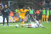 Preston North End's Darnell Fisher is tackled by Swansea City's Barrie McKay<br /> <br /> Photographer Kevin Barnes/CameraSport<br /> <br /> The EFL Sky Bet Championship - Swansea City v Preston North End - Saturday August 11th 2018 - Liberty Stadium - Swansea<br /> <br /> World Copyright &copy; 2018 CameraSport. All rights reserved. 43 Linden Ave. Countesthorpe. Leicester. England. LE8 5PG - Tel: +44 (0) 116 277 4147 - admin@camerasport.com - www.camerasport.com