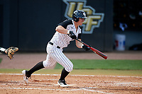 UCF Knights designated hitter Chandler Robertson (22) bunts for a base hit during a game against the Siena Saints on February 17, 2019 at John Euliano Park in Orlando, Florida.  UCF defeated Siena 7-1.  (Mike Janes/Four Seam Images)