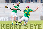 Sean Maunsell Kilmoyley in action against Eric O'Connor Ballyduff in the County Senior Hurling Final at Austin Stack Park on Sunday.