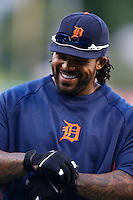 Prince Fielder #28 of the Detroit Tigers before a game against the Los Angeles Angels at Angel Stadium on April 19, 2013 in Anaheim, California. (Larry Goren/Four Seam Images)