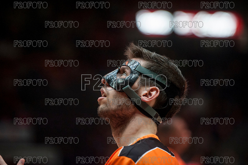 VALENCIA, SPAIN - NOVEMBER 18: Sam Van Brossom during EUROCUP match between Valencia Basket Club and CAI SLUC Nancy at Fonteta Stadium on November 18, 2015 in Valencia, Spain