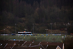 The view from the village during the first-half as Cambrian and Clydach Vale take on Cwmbran Celtic at King George's New Field in a Welsh League Division One match, the top division of the Welsh Football League and the second level of the Welsh football league system. The club, formed in 1965 reached the final of the 2018-19 League Cup final and can count on ex-England manager Terry Venables as a former club chairman. Cambrian and Clydach Vale won this match 2-0, watch by a crowd of around 100 spectators.