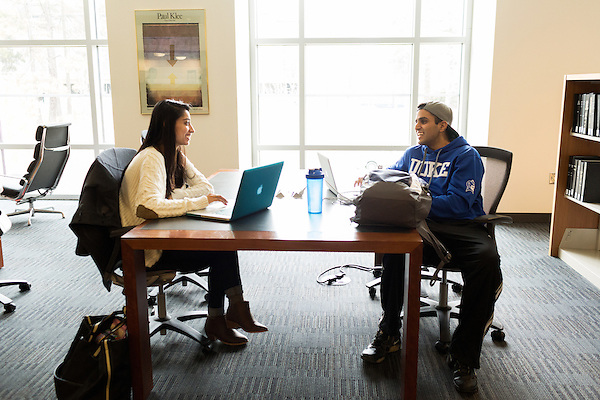 February 23, 2015. Durham, North Carolina.<br /> Naina Soni, left, and Sumair Sangha work together on the lower level of the J. Michael Goodson Law Library.<br />  The Duke University School of Law is considered one of the best law schools in the country.
