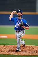 Biloxi Shuckers pitcher Jim Henderson (44) delivers a pitch during the first game of a double header against the Pensacola Blue Wahoos on April 26, 2015 at Pensacola Bayfront Stadium in Pensacola, Florida.  Biloxi defeated Pensacola 2-1.  (Mike Janes/Four Seam Images)