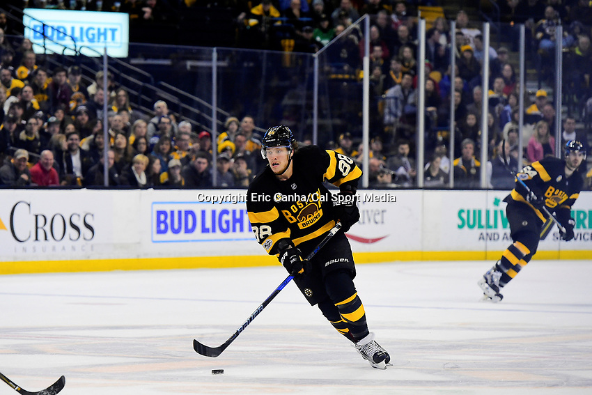 February 11, 2017: Boston Bruins right wing David Pastrnak (88) in game action during the National Hockey League game between the Vancouver Canucks and the Boston Bruins held at TD Garden, in Boston, Mass. Eric Canha/CSM