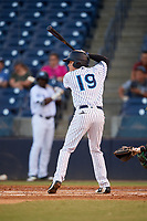 Tampa Tarpons second baseman Diego Castillo (19) at bat during a game against the Daytona Tortugas on April 18, 2018 at George M. Steinbrenner Field in Tampa, Florida.  Tampa defeated Daytona 12-0.  (Mike Janes/Four Seam Images)
