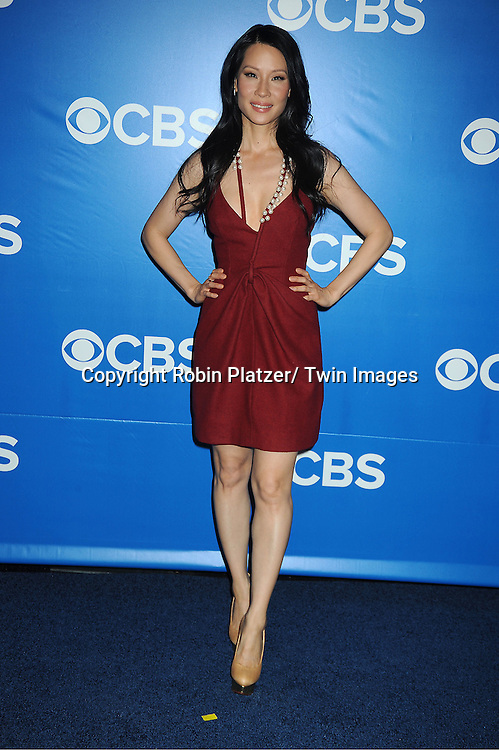 "Lucy Liu  of new show ""Elementary"" attends the CBS Upfront 2012 at The Tent at Lincoln Center in New York City on May 16, 2012."