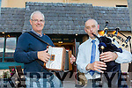 "l-r  Danny Houlihan, Piper and John Lucid, Accordian Player at the Pattern ""Thrasher"" Festival at the White Sands Hotel Ballyheigue on Tuesday. Welcome the Homecoming of the Diaspora for Pattern Day on Thursday"