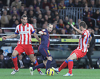 16.12.2012. Barcelona, Spain. La Liga day 16. Picture show Andres Iniesta in action during game FC Bracelona against Atletico Madrid at Camp Nou