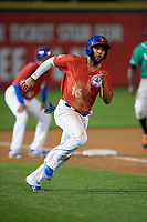 Buffalo Bisons Richard Urena (16) scores a run during an International League game against the Norfolk Tides on June 21, 2019 at Sahlen Field in Buffalo, New York.  Buffalo defeated Norfolk 1-0, the second game of a doubleheader.  (Mike Janes/Four Seam Images)