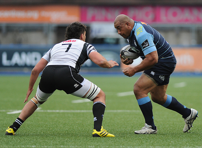 Cardiff Blues' Taufa'ao Filise in action during todays match<br /> <br /> Photographer Ashley Crowden/CameraSport<br /> <br /> Guinness PRO12 Round 21 -  Cardiff Blues and Zebre Rugby - Friday April 28 2017 - Cardiff Arms Park - Cardiff<br /> <br /> World Copyright &copy; 2017 CameraSport. All rights reserved. 43 Linden Ave. Countesthorpe. Leicester. England. LE8 5PG - Tel: +44 (0) 116 277 4147 - admin@camerasport.com - www.camerasport.com