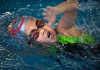 A girl from Chen Jinglun school swiming team swims during a training session at Hangzhou Chen Jinglun Sport school Natatorium, where Chinese Olympic swimmer Ye Shiwen also trained, Hangzhou August 3, 2012. <br /> <br /> Photo by Lou Lin Wei / Sinopix