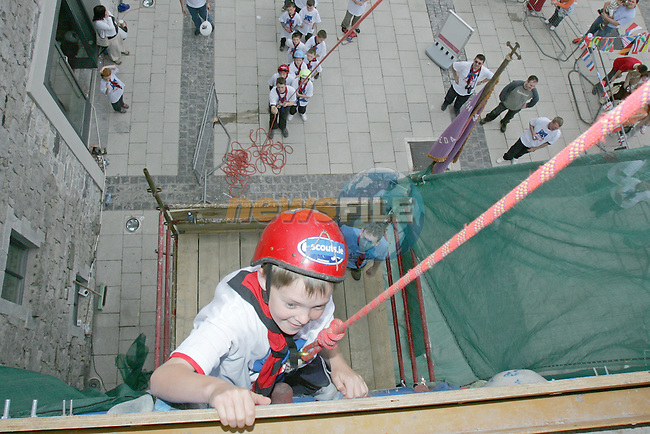 Jonathan Reid taking part in the Scouting Mount Everist Challenge, Climbing frame outside Scotch Hall sponsored by Coca Cola..Photo NEWSFILE/FRAN CAFFREY..(Photo credit should read FRAN CAFFREY/NEWSFILE)...This Picture has been sent you under the condtions enclosed by:.Newsfile Ltd..the Studio,.Millmount Abbey,.Drogheda,.Co Meath..Ireland..Tel: +353(0)41-9871240.Fax: +353(0)41-9871260.GSM: +353(0)86-2500958.email: pictures@newsfile.ie.www.newsfile.ie.FTP: 193.120.102.198..This picture is from Fran Caffrey@newsfile.ie