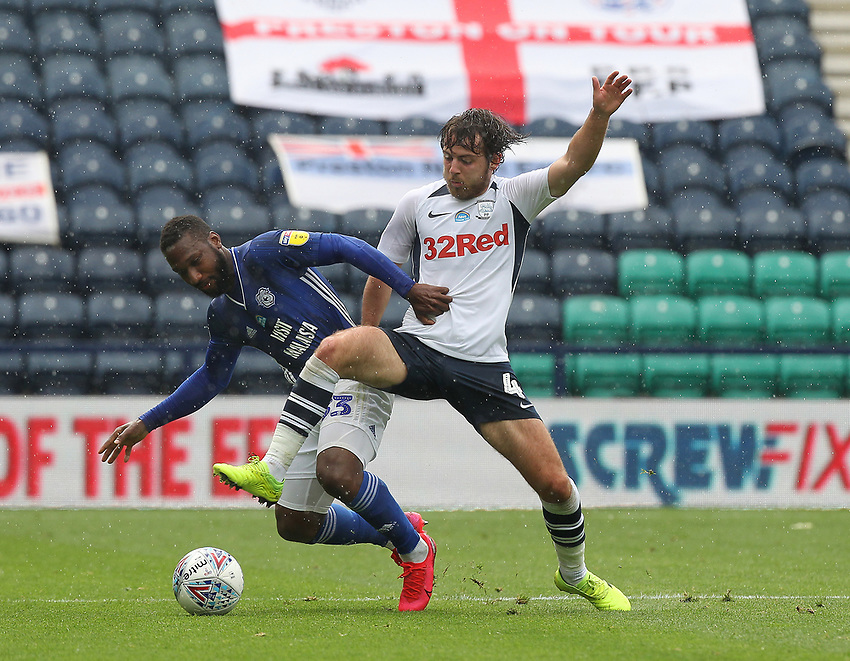 Preston North End's Ben Pearson in action with Cardiff City's Junior Hoilett<br /> <br /> Photographer Mick Walker/CameraSport<br /> <br /> The EFL Sky Bet Championship - Preston North End v Cardiff  City - Saturday 27th June 2020 - Deepdale Stadium - Preston<br /> <br /> World Copyright © 2020 CameraSport. All rights reserved. 43 Linden Ave. Countesthorpe. Leicester. England. LE8 5PG - Tel: +44 (0) 116 277 4147 - admin@camerasport.com - www.camerasport.com