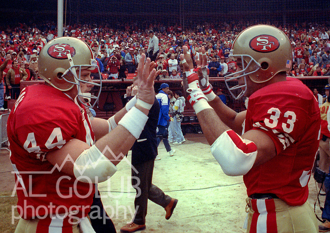 San Francisco 49ers vs Washington Redskins at Candlestick Park Saturday, January 12, 1991..49ers beat Redskins 28-10.49er running backs Tom Rathman (44) and Roger Craig (33) celebrate...