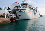 Vehicle disembarking from Armas ferry ship 'Volcan de Tindaya', Corralejo, Fuerteventura, Canary Islands, Spain