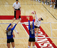 6' Wisconsin junior, Allison Wack goes in for a kill against Duke on Friday at the Field House in Madison