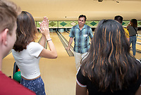 Vince Cuseo, Vice President of Enrollment and Dean of Admission<br /> Incoming first-years participating in MSI bowl with members of senior staff at All Star Lanes bowling alley in Eagle Rock, July 27, 2018.<br /> The Multicultural Summer Institute (MSI) is a four-week academic/residential program for approximately 50 incoming first-year students who represent a variety of ethnic, regional and cultural backgrounds. Through MSI, Occidental College introduces its student body to the social, cultural and intellectual resources of Southern California, and familiarizes students with the Oxy community and surrounding Los Angeles area.<br /> (Photo by Marc Campos, Occidental College Photographer)
