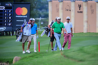 Steve Marino (USA), David Hearn (CAN), and Michael Kim (USA) approach the 18 green during round 1 of the Valero Texas Open, AT&amp;T Oaks Course, TPC San Antonio, San Antonio, Texas, USA. 4/20/2017.<br /> Picture: Golffile | Ken Murray<br /> <br /> <br /> All photo usage must carry mandatory copyright credit (&copy; Golffile | Ken Murray)