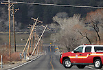 High winds knock down power poles along Muller Lane in Minden, Nev. on Thursday, Feb. 9, 2017. <br /> Photo by Cathleen Allison/Nevada Photo Source