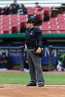 Home plate umpire Jeff Hamann during a Midwest League game between the Cedar Rapids Kernels and the Kane County Cougars at Northwestern Medicine Field on April 28, 2019 in Geneva, Illinois. Cedar Rapids defeated Kane County 3-2 in game two of a doubleheader. (Zachary Lucy/Four Seam Images)