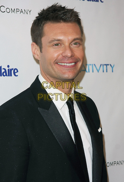 RYAN SEACREST .Relativity Media and Weinstein Company 68th Annual Golden Globe Awards After Party Presented by Marie Claire held at the Beverly Hilton, Beverly Hills, California, USA, .16th January 2011..globes portrait headshot white shirt smiling  black suit tie beard facial hair .CAP/ADM/TB.©Tommaso Boddi/AdMedia/Capital Pictures.
