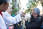 A cat is blessed by a priest at San Anton church in Madrid marking San Anton Abad's Day (Saint Anthony), on January 17, 2016. Pet animals, many dressed in their finest, trooped into churches across Spain in search of blessing on the patron saint of animals Saint Anthony's Day.  (ALTERPHOTOS/Rodrigo Jimenez)