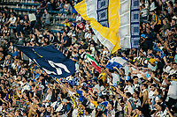 CARSON, CA - SEPTEMBER 15: La Galaxy fans during a game between Sporting Kansas City and Los Angeles Galaxy at Dignity Health Sports Complex on September 15, 2019 in Carson, California.