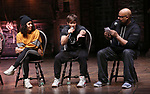 "Sasha Hollinger, Thayne Jasperson and James Monroe Iglehart  during The Rockefeller Foundation and The Gilder Lehrman Institute of American History sponsored High School student #eduHam matinee performance of ""Hamilton"" Q & A at the Richard Rodgers Theatre on November 28, 2018 in New York City."