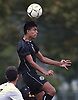 Andy Blanco #8 of Uniondale makes a header during a Nassau County Conference AA-1 varsity boys soccer game against Syosset at Uniondale High School on Tuesday, Oct. 2, 2018.