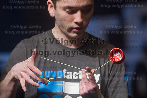 Yuji Shimokawa Kelly of Great Britain competes during the Yoyo European Championships in Budapest, Hungary on February 24, 2013. ATTILA VOLGYI