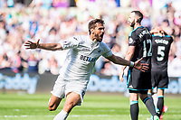 Fernando Llorente of Swansea City Celebrates his goal during the Premier League match between Swansea City and West Bromwich Albion at The Liberty Stadium, Swansea, Wales, UK. Sunday 21 May 2017 (Photo by Athena Pictures/Getty Images)
