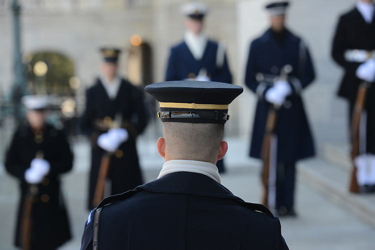 WASHINGTON, DC - JANUARY 21: Military personnel gather for the presidential review of the troops at the East Front of the Capitol following President Barack Obama's inaugural swearing-in ceremony in Washington, DC, on January 21, 2013. (Photo by Linda Davidson/The Washington Post)..