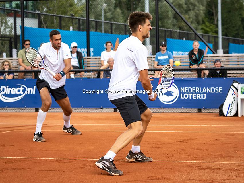 Amstelveen, Netherlands, 1 August 2020, NTC, National Tennis Center, National Tennis Championships, Men's Doubles final: Sander Arends and David Pel (NED) (L)<br /> Photo: Henk Koster/tennisimages.com