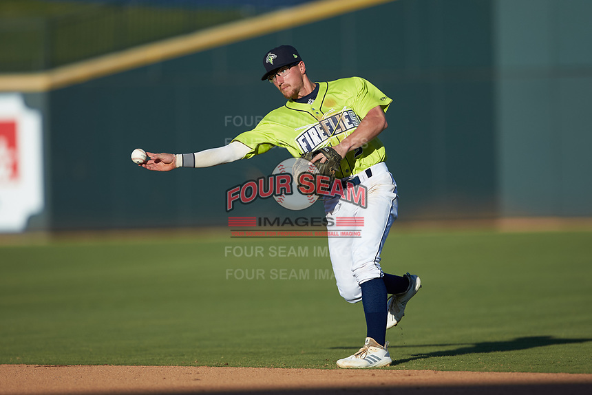 Columbia Fireflies second baseman Chandler Avant (5) makes a throw to first base against the Rome Braves at Segra Park on May 13, 2019 in Columbia, South Carolina. The Fireflies walked-off the Braves 2-1 in game one of a doubleheader. (Brian Westerholt/Four Seam Images)